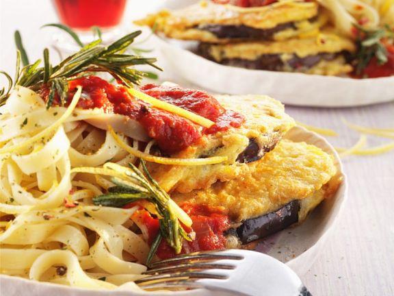 Lemony Pasta with Baked Eggplant and Tomato Sauce