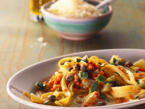 Lentil and Caper Pasta