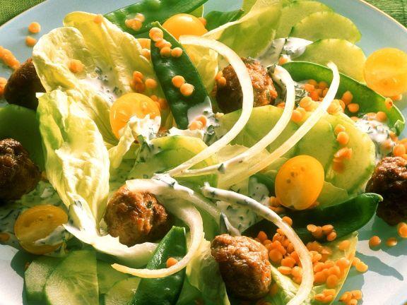 Lentil and Meatball Salad