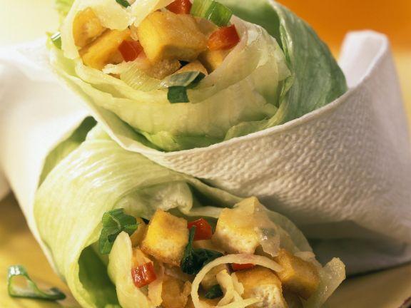 Lettuce Rolls Stuffed with Tofu