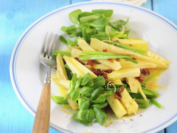 Mache Salad with Parsnips, Leeks, and Dried Tomatoes