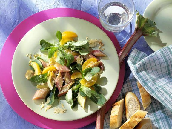 Mache Salad with Rhubarb