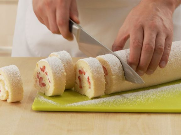 Making Strawberry Cream Roulade