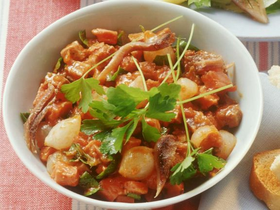 Meat Salad with Tomato Dressing