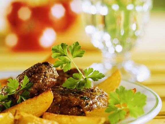 Meatballs and Fried Sweet Potato Wedges
