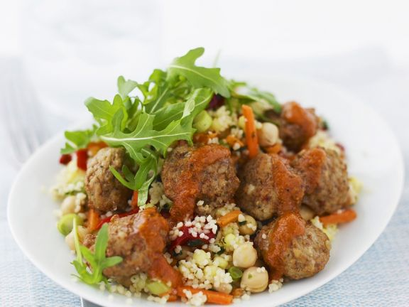 Meatballs with Tomato Sauce and Couscous Salad