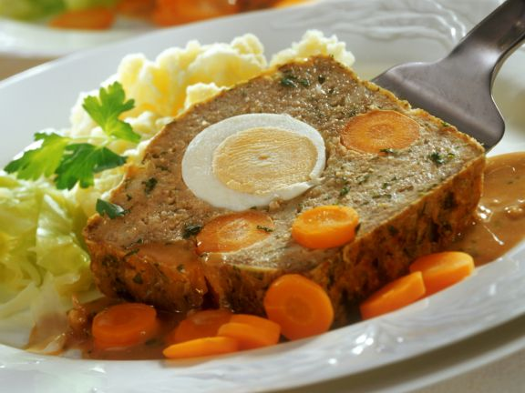 Meatloaf with Eggs, Carrots and Mashed Potatoes