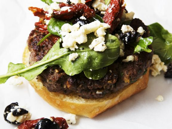 Mediterranean Lamb Burger with Feta Cheese, Sun Dried Tomatoes and Olives