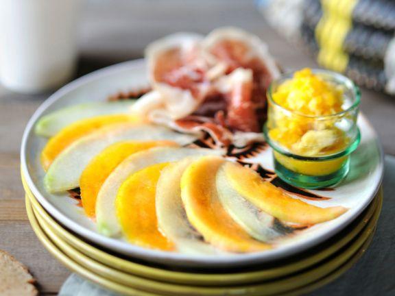 Melon and Ham Salad with Granita