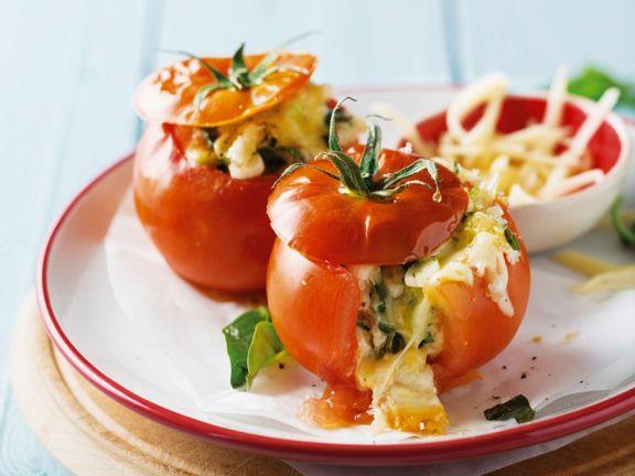 Microwaved Mozzarella-Stuffed Tomatoes