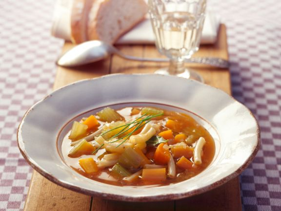 Minestrone Soup with Celery and Carrots