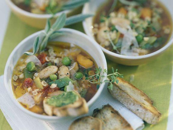 Minestrone with Pesto Toast
