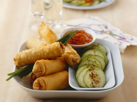 Mini Rolls with Meat and Cucumber