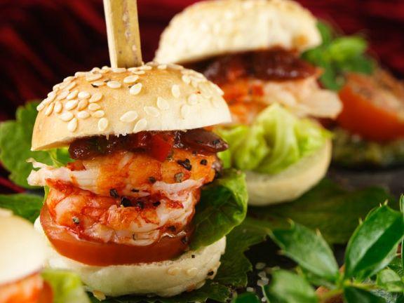 Mini Shrimp Burgers with Tomato