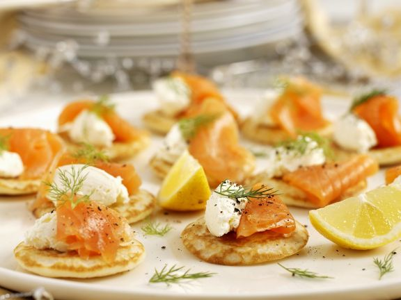 Miniature Russian Pancakes with Smoked Salmon