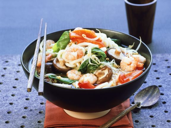 Miso Soup with Noodles and Shrimp