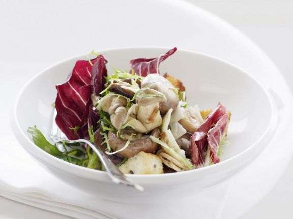 Mixed Mushroom Salad with Sourdough Croutons