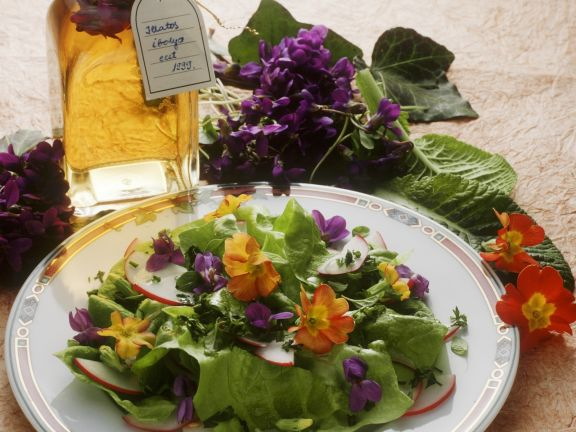 Mixed Salad with Primroses and Violet Vinaigrette