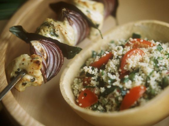Monkfish Skewers with Bulgur Salad