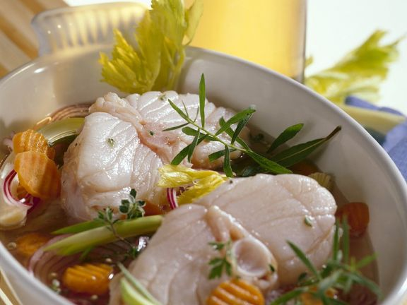 Monkfish with White Wine Sauce and Vegetables