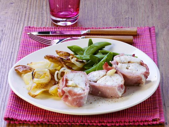 Monkfish Wrapped in Bacon with Vegetables