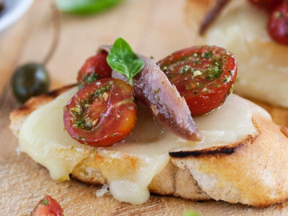 Mozzarella Baguettes with Tomatoes and Anchovies