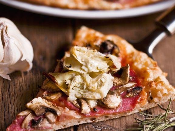 Mushroom, Artichoke and Salami Pizzas