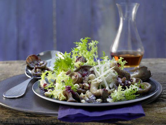 Mushroom Salad with Frisee Lettuce