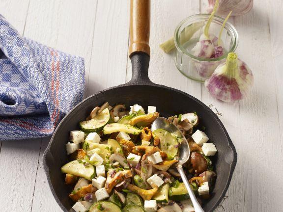 Mushroom Salad with Garlic, Zucchini and Feta