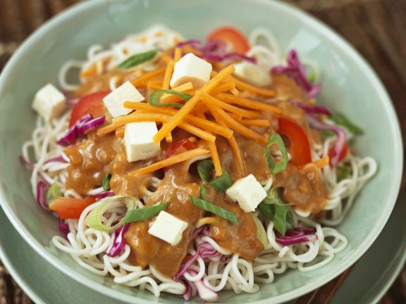 Noodle and Tofu Bowl with Peanut Sauce