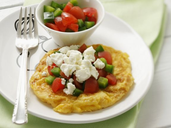 Omelet with Tomato, Cucumber and Feta Cheese