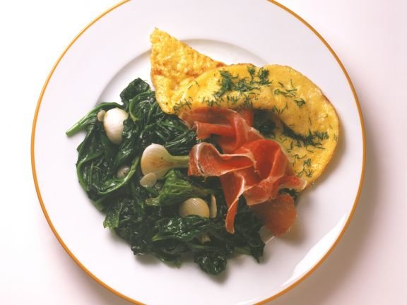 Omelets with Sautéed Spinach and Prosciutto