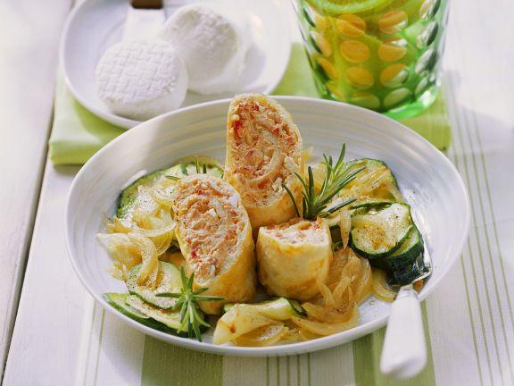 Omelette Rolls on Zucchini