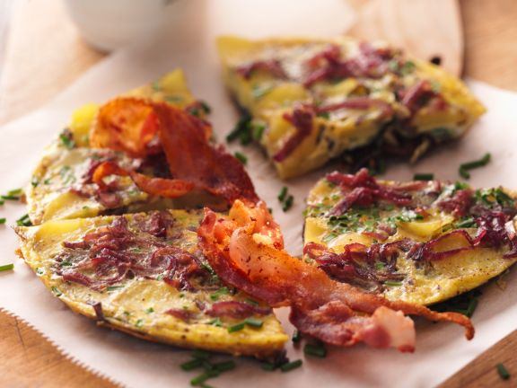 Onion and Potato Frittata with Bacon