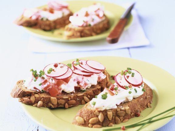Open-Faced Radish and Quark Cream Sandwiches