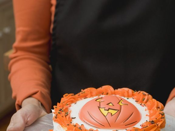 Orange and Chocolate Gateau with Pumpkin Decoration