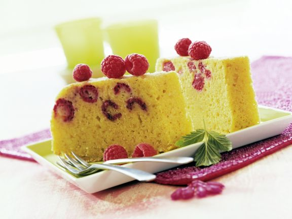 Orange Semolina Cake with Raspberries