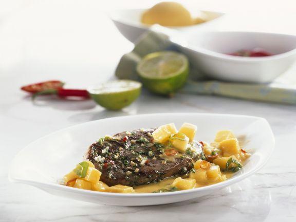 Ostrich Steak with Mango Sauce