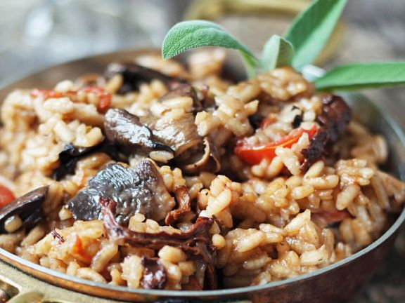 Oyster Mushroom and Sun-dried Tomato Risotto