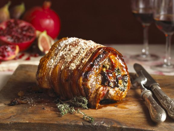 Paleo Roast Loin of Pork with Apple and Pistachio Stuffing