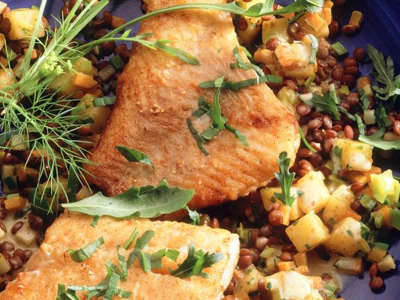 Pan Fried Cod with Lentils
