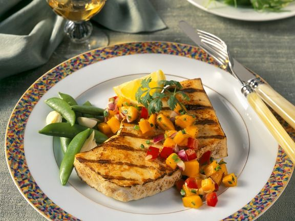 Pan Fried Halibut with Mango Salsa