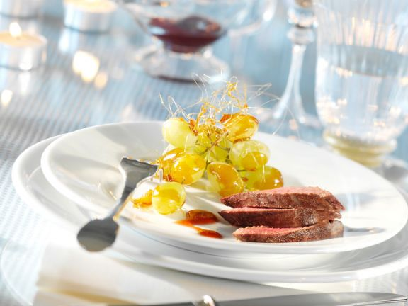 Pan Seared Venison with Grapes