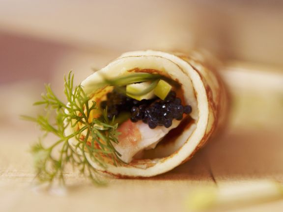 Pancake Rolls with Caviar and Shrimp