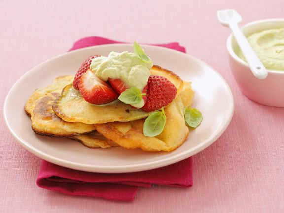 Pancakes with Berries and Basil Mousse