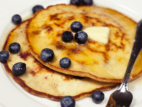 Pancakes with Coconut, Blueberries and Butter