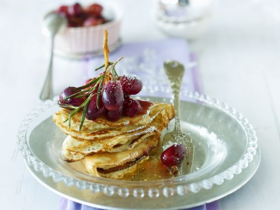 Pancakes with Grapes and Rosemary