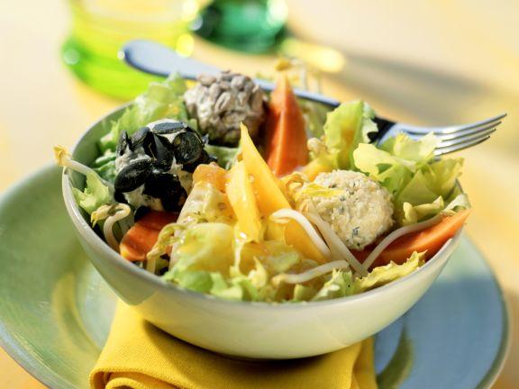 Papaya and Mango Salad with Cream Cheese Balls