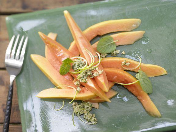 Papaya Lime Carpaccio with Mint Pesto