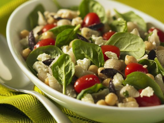 Pasta and Chickpea Salad with Baby Spinach, Tomatoes, Olives and Feta Cheese